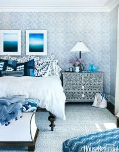 Pattern mixing blue & white. bedroom.  home decor and interior decorating ideas.  pattern on pattern works for me.