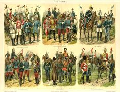 European Cavalry Troopers, 1895 - Great Britain, Germany, Russia, Italy,  Austria-Hungary