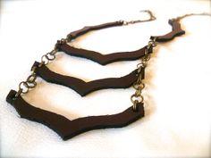 Tyvin  Triple Chevron Necklace. leather boho necklace. by ulantia, $44.00 #triplechevron #chevron #leather #necklace #jewelry #brass #ulantia #geometric
