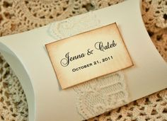 DIY Favor boxes - Vintage Personalized Pillow Boxes - Wedding Favor - Pink instead