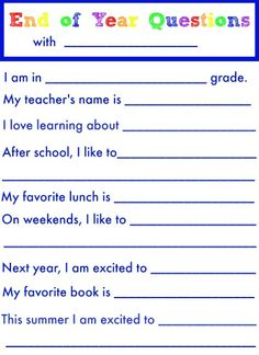 End of School Year Questions {free printable!}