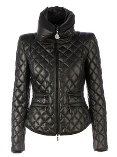 Moncler Femelle Leather Quilted Jacket