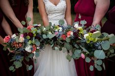 Gorgeous wedding bouquets for bridal party | An Outdoor Fall Wedding at a Gorgeous NC Manor -- Bustld -- Planning Your Wedding Just Got Easier | NC wedding, NC bride, Raleigh wedding, Raleigh Durham wedding, fall wedding, outdoor wedding, burgundy and gold wedding inspiration | Photographer @rosetrailimages Catering @cateringworks Venue @randbryanhouse Jewelry @diamondsdirect #outdoorweddings
