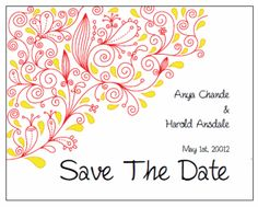 Save the Date. Printable Wedding Invitations Paisley Anya Suite: Red and Yellow