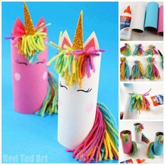 Toilet Paper Roll Unicorn for Preschoolers - Red Ted Art - Make crafting with kids easy & fun - - One Toilet Paper Roll. One Unicorn Theme - 3 DIFFERENT Toilet Paper Roll Unicorn Crafts! From Toilet Paper Roll Unicorn for Preschoolers to Unicorn Puppet. Easy Crafts For Kids, Craft Activities For Kids, Summer Crafts, Toddler Crafts, Preschool Crafts, Arts And Crafts For Kids For Summer, Crafts For Preschoolers, Children Crafts, Art Children