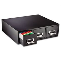 SteelMaster Drawer Card Cabinet Holds 4,500 3 x 5 cards, 19 7/8 x 18 1/8 x 7 - All-steel card cabinet.