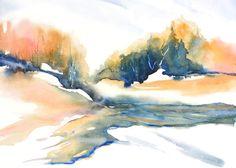 Wall Art Landscape Watercolor Painting Print,Watercolor Print, Fall Abstract Painting,Green Wall Decor, Minimalist Art,Orange Art,River Snow