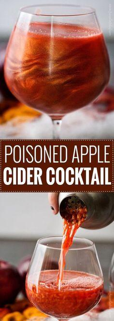 Poisoned Apple Cider Cocktail   4 oz apple cider + 1 1/2 oz spiced rum + 1 1/2 oz pomegranate juice + 3/4 oz grenadine + scant 1/4 tsp edible luster dust