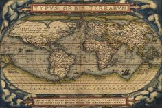 ORTELIUS MAP OF THE WORLD FROM 1570 poster latin historic 24X36-YW0