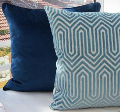 LimitedTeal Velvet Pillow CoverBlue Geometric by LaletDesign