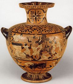 Heracles killing the Pharaon Busiris. Caeretan hydria. Eastern Greek. Clay. Ca. 520—510 B.C. Height 45.5 cm. Inv. No. IV 3576. Vienna, Museum of Art History, Collection of Classical Antiquities.