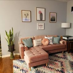 Living Room Sectional, Home Living Room, Sectional Sofas, Mid Century Sectional, Modern Living Room Colors, Mid Century Modern Living Room, Living Room Theaters, Living Room Inspiration, Office Inspo