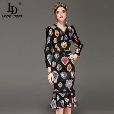 High Quality Runway Fashion Designer Sexy Mermaid Dress Women's Long Sleeve V neck Lace Patchwork Print Vintage Dress