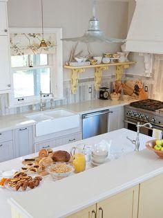 Sarah Richardson - Farmhouse Cottage Kitchen- layout and backsplash. mix wood and tile Cottage Kitchens, Farmhouse Sink Kitchen, Country Kitchen, Home Kitchens, Kitchen Decor, Farm Sink, Farmhouse Chic, Kitchen Ideas, Kitchen Sink