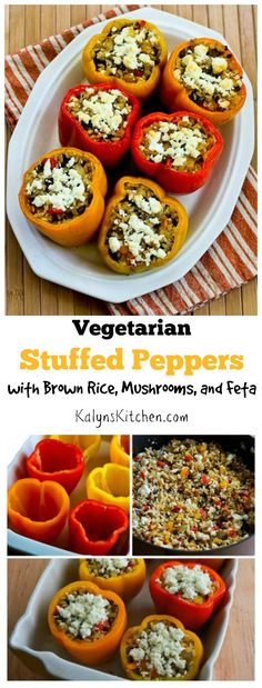 I love these Vegetarian Stuffed Peppers with Brown Rice, Mushrooms, and Feta; this recipe is gluten-free and perfect for a Meatless Monday dinner! [found on KalynsKitchen.com]
