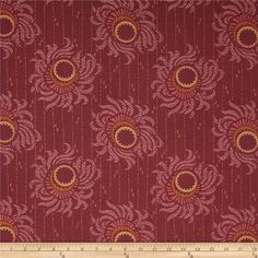 """Downton Abbey II Flower Strings Red from @fabricdotcom  Licensed by Carnival Film & Television Ltd. to Andover Fabrics, this cotton print fabric is inspired by the TV series, """"Downton Abbey."""" It is perfect for quilting, apparel, crafts, and home decor items. Colors include muted gold, pumpkin, mauve, and merlot."""