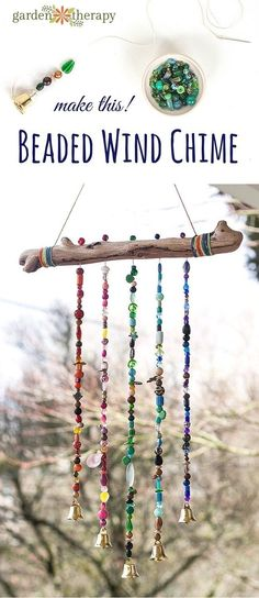 How to make a sparkling bead wind chime with bells! Ill admit Im a bit of a craf… How to make a sparkling bead wind chime with bells! Ill admit Im a bit of a craft supply hoarder and have accumulated a massive amount of beautiful beads over the years but Kids Crafts, Diy And Crafts, Craft Projects, Diy Crafts Garden, Kids Outdoor Crafts, Outdoor Art, Project Ideas, Outdoor Projects, Creative Crafts