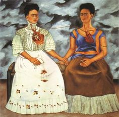 Frida Kahlo's The Two Fridas  #FridaKahlo #Fridamania #Love #DiegoRivera #TheTwoFridas #Heartbreak #ART #MexicanArt #Mexico #MuseumOfModernArt
