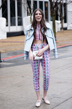 See the boldest prints and statement pieces from outside the tents at Toronto Fashion Week