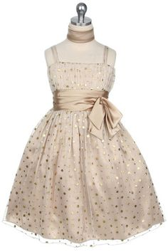 Printed Polka-Dot Mesh Short Gold Flower Girl Dress    perfect for the starry night wedding theme!