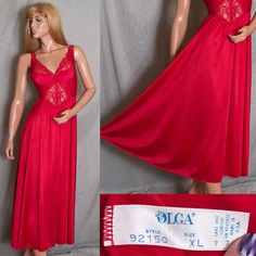 """VINTAGE XL OLGA 92150 NIGHTGOWN LIQUID SATIN FRENCH LACE 108"""" FULL SWEEPING LINGERIE #SomeLikeItUsed"""