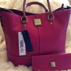 3f9a5eb4e77 NWT DOONEY   BOURKE CHELSEA SLIM CONTINENTAL WALLET STRAWBERRY PEBBLED  LEATHER