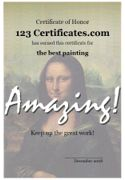 Printable art certificates, art awards for art contests and artwork competitions, and art certificate templates for kids