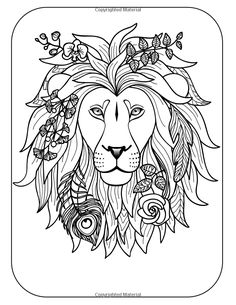 Lion Adult Coloring Page Zentangle Doodle By ColoringPageExpress