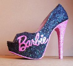 Show your love for Barbie by rockin a pair of Barbie High Heels. Black glitter covers the entire shoe . The sole is pink, with Barbie on the side Pumps, Pump Shoes, Shoe Boots, Shoes Heels, Sparkly Shoes, Glitter Heels, Black Glitter, Crazy Shoes, Me Too Shoes