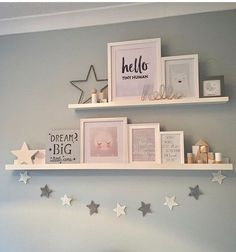 How to make your own floating shelves - Kinderzimmer - Shelves in Bedroom Baby Bedroom, Baby Room Decor, Star Bedroom, Baby Girl Bedroom Ideas, Room Baby, Nursery Room Ideas, Kids Bedroom Ideas For Girls, Decorating Toddler Girls Room, Girl Bedroom Walls