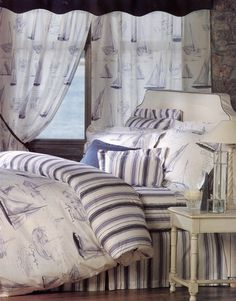 Nautical bedding, with ships and stripes