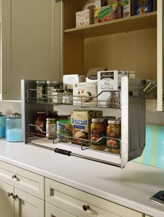 "Innovative cabinet storage solutions from #DiamondCabinets were featured in a ""Plan a New Kitchen"" article in the Austin American-Statesman. The article highlighted two #DiamondStorageSolutions designed to help homeowners ""rethink storage.""  One of which was the Wall Cabinet with Pull-Down Shelf. It has a two-tiered shelf that pulls down to a convenient countertop level."