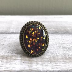 Sparkly Aubergine Resin Glitter Ring, Antique Bronze Oval Ring, Adjustable, Festival, Bohemian Sparkle, Vintage Chic, Special Girl by nimmysjewellery on Etsy