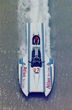 """""""ATLAS VAN LINES"""" (U-7) 1980's (28') Gold Cup Unlimited Class Hydroplane - Powered By a Packard Rolls Royce Merlin V12 Engine - After $100,000 and Four Years of Work from the Hydroplane and Race Boat Museum in Kent, Washington the Boat was Back in the Water During """"Seafair"""", 2014 – was Piloted by Chip (2)"""