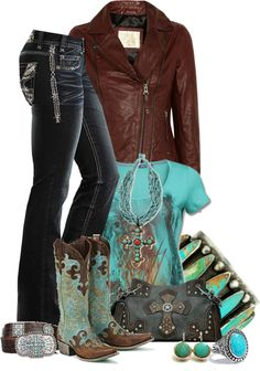 """Lane Cowboy Boots"" by girlyideas on Polyvore. Would only wear a few pieces... I love the jeans and Jacket...."