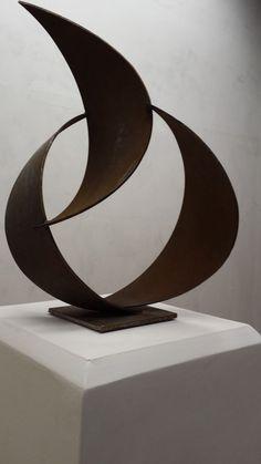 #Metal #sculpture by #sculptor Petr Pergler titled: 'Innocent Bends (Interior Modern abstract Steel statue)'. #PetrPergler