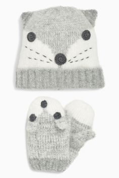 Buy Monochrome Fox Hat And Mitten Set (Younger Girls) online today at Next: United States of America