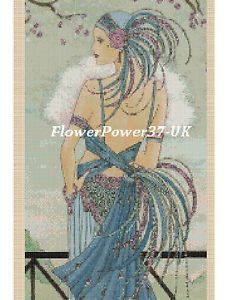 .. Cross stitch chart Art deco Lady 46 Flowerpower 37-UK GRATIS UK P /& P.