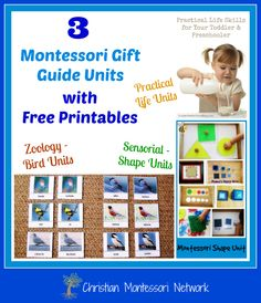 Enjoy 3 beautiful Montessori gift guide units with free printables for your child to enjoy. The units are the study of birds, shapes, and practical life. ChristianMontessoriNetwork.com