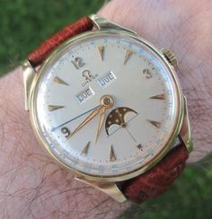 Vintage OMEGA Triple-Date Moonphase Dress Watch In Gold