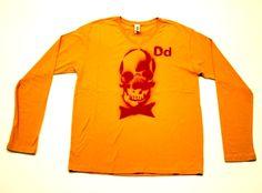 DEAD MANS PARTY  - 92% cotton/8% Polyester  - short sleeve v neck  - gold crimson print  PRICE: $30.00    http://www.druedun.com/store/44/116/DEAD-MANS-PARTY.html