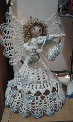 Best 12 Save want to make this – SkillOfKing. Crochet Angel Pattern, Crochet Angels, Baby Afghan Crochet, Holiday Crochet, Crochet Gifts, Christmas Angel Ornaments, Christmas Crafts, Doily Patterns, Crochet Patterns