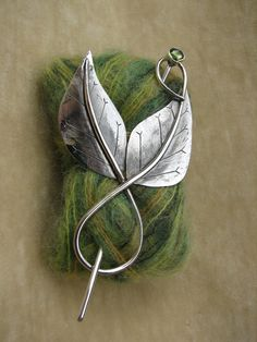 Swirl Two Leaf shawl pin with peridot - sterling silver - handmade by adornhanmadejewelry