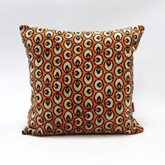 Orange graphic Mid Century velvet upholstery fabric pillow cover  45x45 - 18x18 - pinned by pin4etsy.com