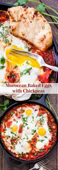 Moroccan Baked Eggs with Chickpeas is a simple, flavorful, vegetarian dish that can be on the table in less than 30 minutes! This versatile meal is hearty enough for breakfast or dinner.