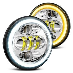 """Lumen® - 5 3/4"""" Round High/Low Beam Chrome Projector LED Headlights with Switchback Halo Sealed Beam Headlights, Black Headlights, Halogen Headlights, Projector Headlights, Led Projector, Ford Mustang 1969, Motorcycle Lights, Car Headlight Bulbs, Delta Light"""