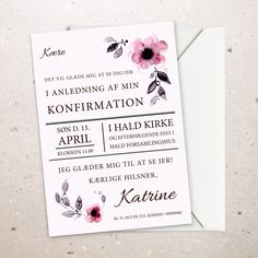 Billedresultat for invitation konfirmation Wedding Napkin Folding, Paper Napkin Folding, Paper Napkins, Reception Invitations, Birthday Invitations, D 20, Creative Business, Wedding Cards, Gift Wrapping