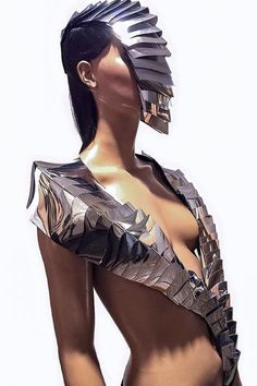 This is my ultimate design in sci fi boleros or cyber shawls can be used as a shoulder armour or futuristic armadilla stole !  Made out of rigid mirror