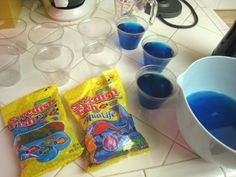 Mini Jello aquariums. Dilute with clear gelatin for lighter blue.
