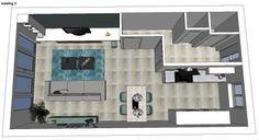 3D impressie indeling optie 2 woonkamer Rotterdam by Flow Design